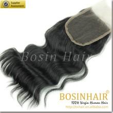 Wholesale top quality free part & middle part 4*4 lace base natural brazilian hair pieces