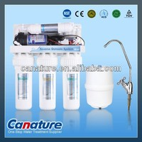 Household 5 stage Reverse Osmosis RO water filter system with plastic tank