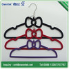 happy family use dad/mom/baby hanger set, beautiful bowknot velvet flocked hanging hanger