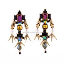 Fashion Accessories Wholesale Dazzle Crystal Rivet Women Long Drop Earrings