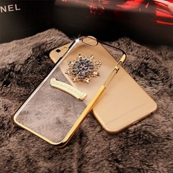 For iPhone 5 6 6 Plus Luxury Chrome Frame PC Transparent Back Case