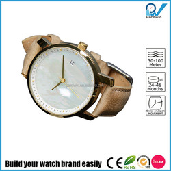Build your watch brand women bracelet watch full stainless steel case and back soft genuine leather strap