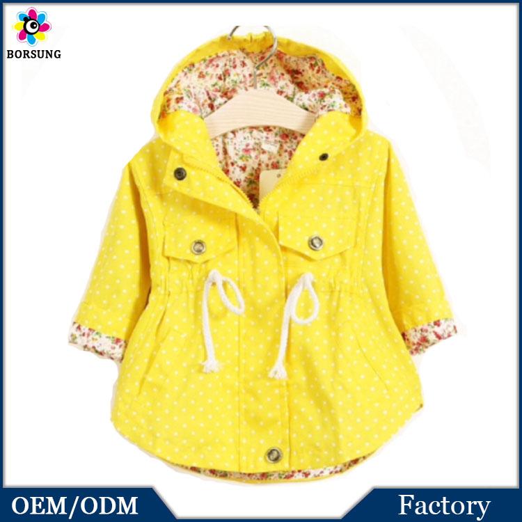 OEM Fashion Style Children Cotton Yellow Polka Dots Fall Winter Boutique Girls Coat