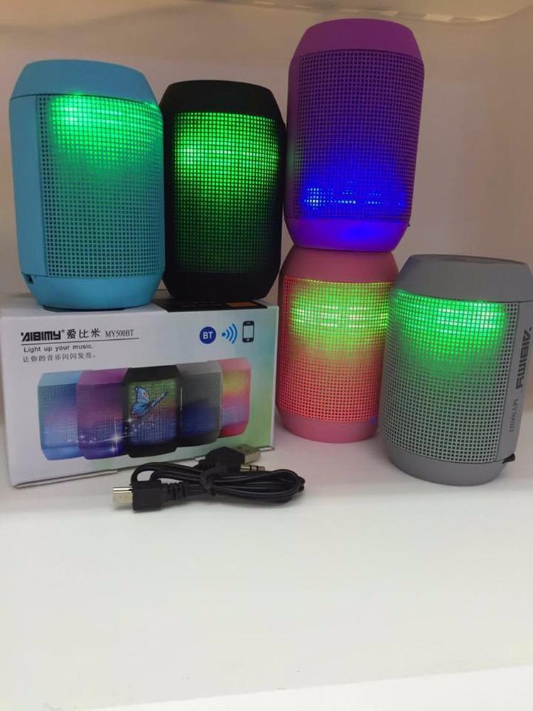 AIBIMY MY500BT Luminous LED Design Wireless Mini Bluetooth Speaker Support TF Card / U-Disk / Aux input