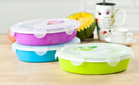Candy color oval plastic lunch box/round lunch box/High quality Lunch box