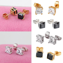 Fashion Women Jewelry Ear Stud Crystal Rhinestone Square Basket Setting Cz Earrings