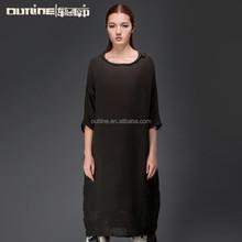 2015 mais recente estilo Casual manga três quartos modelo simples vestido