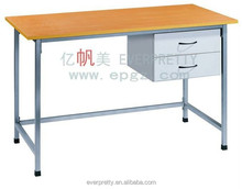 Melamine table top teacher standing desks with 2 drawers, wooden table
