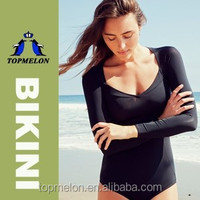 Women's Charming Sexy Long Sleeve One Piece Bikini Bathing Swimwear Swimsuit Set