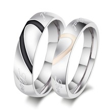 Wholesale Fashion stainless steel jewelry Wedding couples love band ring