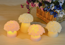 Wedding/Valentine Decor 2pcs Small Ivory Wax Rose Embossed Amber Flickering LED Candle