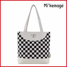 black and white check design canvas handbag shoulder bag