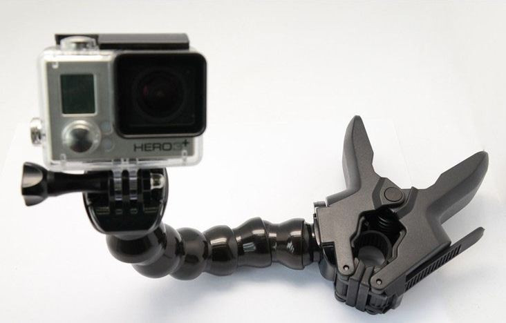 GoPro Serpentine Curved Arm Jaws Flex Clamp Mount And Adjustable Neck For GoPro