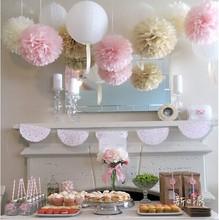 45pcs mixed size (10cm,15cm,20cm) Tissue paper pom poms artificial flowers balls birthday Wedding decoration kids party supplies