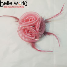 Feathers Pink Three Fascinator Flower Brooch Wholesale hair clip