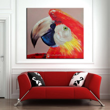 Professional Artist Handmade High Quality Canvas Parrot Oil Painting