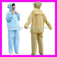 Creative customize hooded pvc two piece raincoat for adults