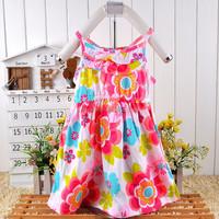 sleeveless colorful braces flower princess girls cotton printed dress materials