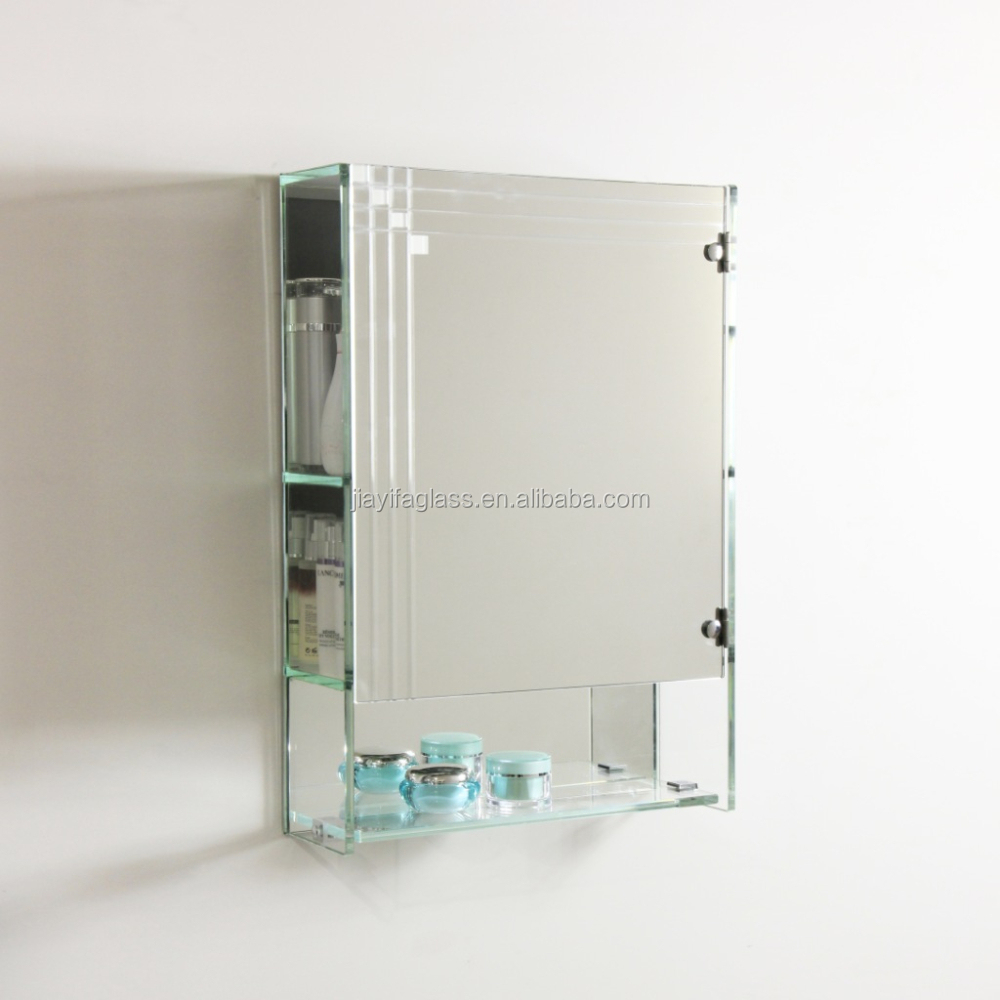 tempered glass shelves sliding bathroom mirror cabinet