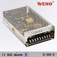 High reliability 200w 5v single output power supplies 40 amp