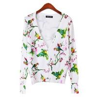 2015 new arrival women birds printed cardigan jacket sweater outerwear