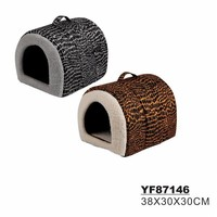 Leopard Design Front Open Dog Carrying Basket