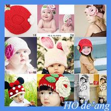 HOGIFT crochet Kids hand knit hat patterns Winter flower Hats princess Photography baby Warm cap Ear warm hat