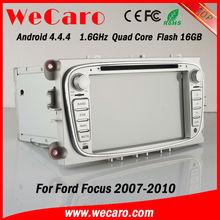 Wecaro 7 inch silver style Android 4.4.4 WIFI+3G 2 din multimedia car audio player gps navigation for Ford Focus 2007-2010