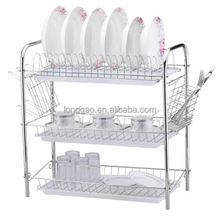 Chrome Kitchen Dish Cup Drying Rack Drainer Dryer With Cutlery Holder