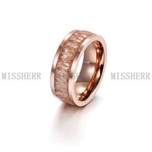Venta caliente moda anillo de dedo de acero quirúrgico con cristales NSR063STRGCB