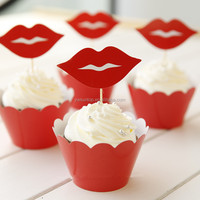red lips paper cupcake wrapper & toppers picks wedding birthday party decorations for girl kid gifts