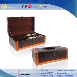 2015 Wholesale Dual Portable Leather Wine Bottle Carrier