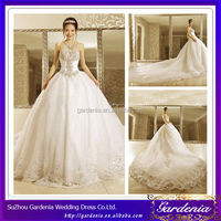 Luxurious Ball Gown Strapless Crystals Beaded China Wholesale Designer Wedding Gowns with Cathedral Length Train (ZX494)