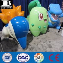 cartoon characters custom made large inflatables shaped like the starters from pokemon Heartgold and Soulsilver