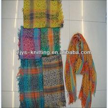 Fashion digital print silk scarf with beads pendant