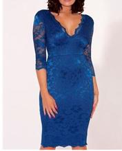 2014 azul novo estilo deep v- pescoço meia manga da mãe da noiva vestidos de renda