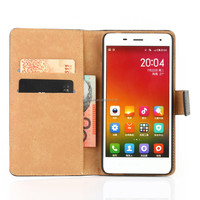 China supplier Genuine Leather Flip phone case wallet cover for xiao mi 4