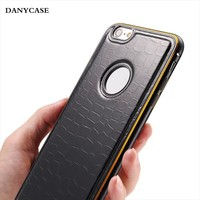 Alibaba china supplier leather+metal case for iphone 6, for iphone 6 leather+metal case