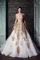 2014 Rami Kadi gold embroidery wedding gown XT-1085 white and gold wedding dresses