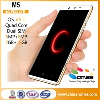 Custom Brand Welcome OEM M5 5 inch HD IPS 8MP Camera 2GB/16GB Android 5.1 smart phone 4G dual sim