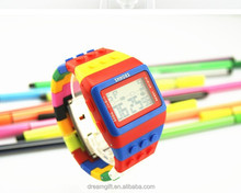 2015 hotsale brick style digital watch rainbow building block watch fashion