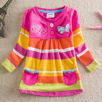 2-6Y (65518#Blue and Pink )kids wears ready stock wholesale baby girl pocket stripe butterfly top t shirt