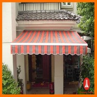 Curtain times Motorized Retractable Awning in Sunshade Fabric