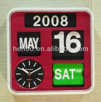 automatic analog flip clock red color date and day flip clock