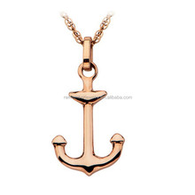 SRP0014 Wholesale Women's Necklace Stainless Steel Rose Gold Cross Anchor Pendant Necklace