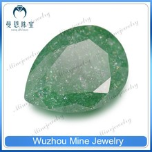 wholesale green color pear CZ stones for wax setting