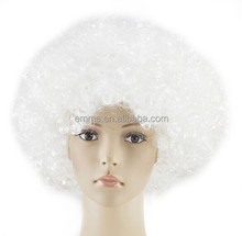 Cheap white Color Afro Football Fans Wigs crazy party wig curly synthetic wig W5023