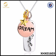 Trade assurance supplier wholesale 925 sterling silver jewelry Custom Dream and Believe Necklace Jewelry