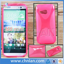 New Arrival Durable Unique X-line Translucent Clear TPU Gel Case Back Cover for HTC One M8 Mini