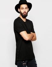Super Longline T-Shirt With Popper Side Fastening And Scoop Hem of men